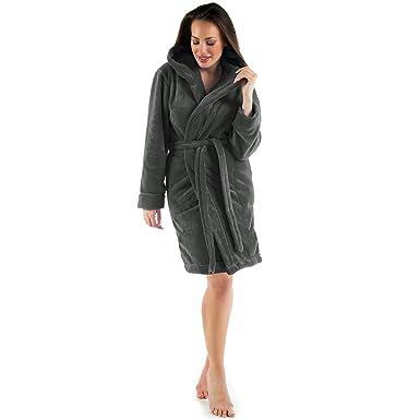 4b7c81af1768d5 CelinaTex Korfu Damen Bademantel mit Kapuze XS anthrazit Sherpa Fleece  kurzer Morgenmantel Saunamantel Kimono