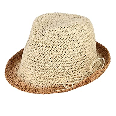 c196e5b180553 Handmade Crochet Pure Straw Hat Men Summer Sun Hat Breathable Beach Cap  Jazz Cap Panama Hat Folding Floppy Cap Brown at Amazon Men s Clothing store