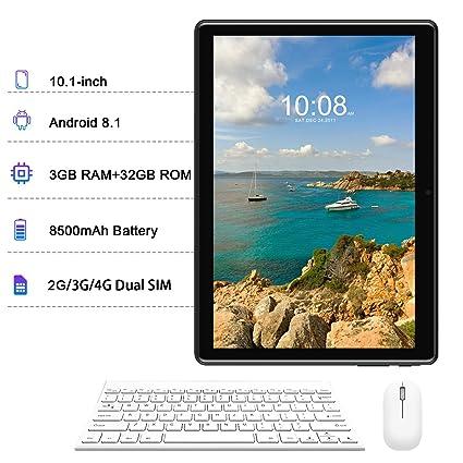 Tablets 10 Pulgadas con Teclado, Android 8.1 Octa-Core Tablets Computer 3GB RAM 32GB ROM, 8500mAh Batería Dual SIM WiFi Bluetooth Telefono ...