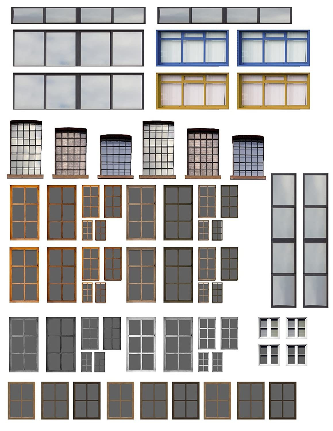 10 Sheets O Scale Windows and Doors
