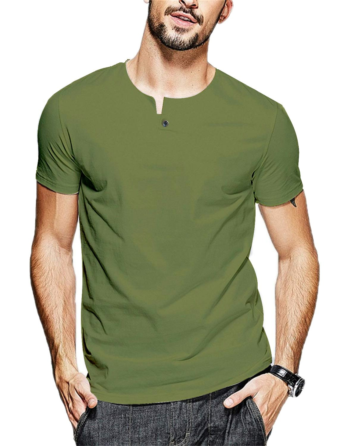 JNC 100% Cotton Mens Summer Casual Button Slim Fit Pure Color Short Sleeve Henley T-Shirts (Medium, Army Green)