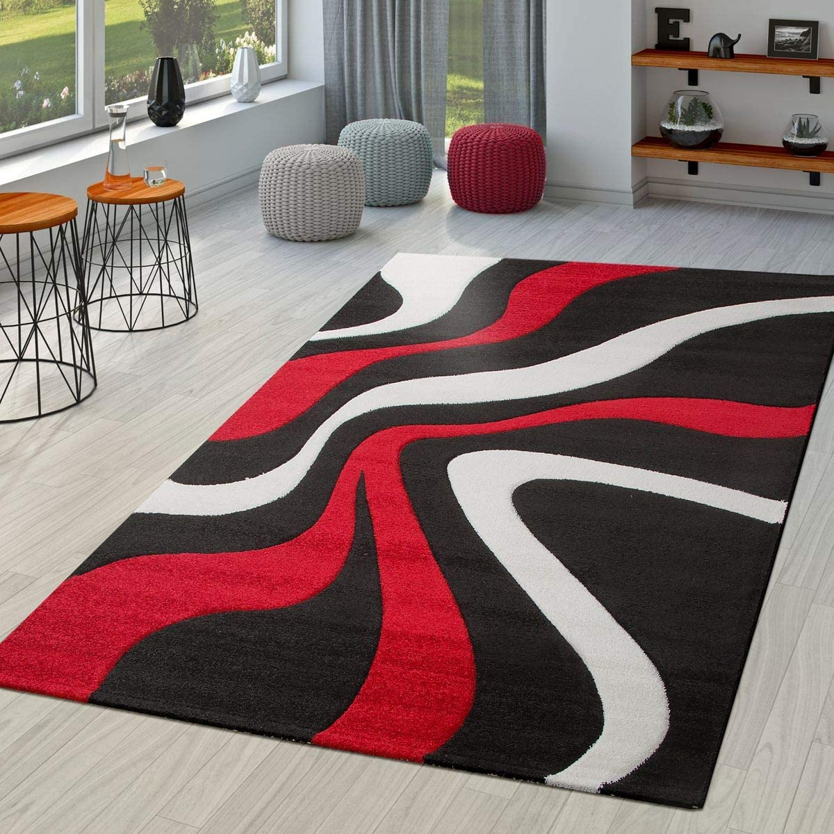 Tt Home Rug Red Black White Living Room Rug Modern With Contour Cut Polypropylene White 120x170 Cm Amazon Co Uk Kitchen Home