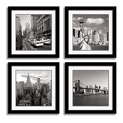 Amazon.com: HLJ ART Black Frames Giclee New York City Skyline Canvas ...
