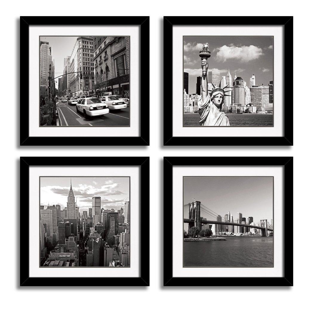 HLJ ART Black Frames Giclee New York City Skyline Canvas...