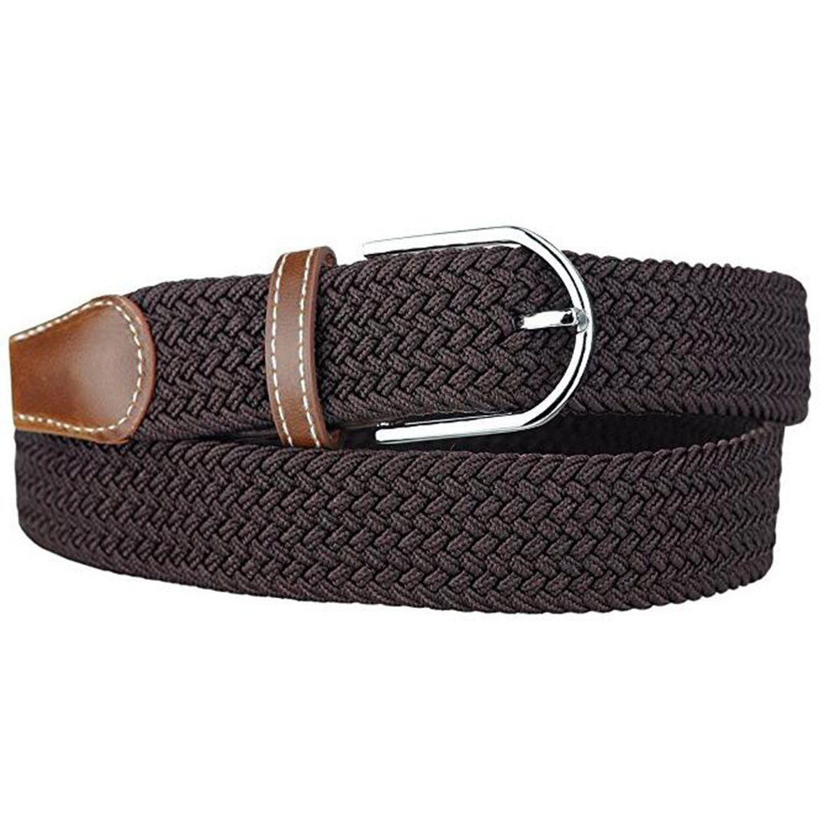 Jeracol Elastica Cintura uomo cinghia intrecciata pelle flessibile  quotidiano Cintura fibbia in metallo product image e8afe30732c