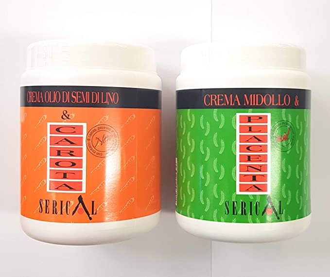 Máscara para el cabello serical con acondicionador profundo, 1 máscara para el pelo de zanahoria de 1000 ml y 1 mascarilla para el pelo de placenta de ...