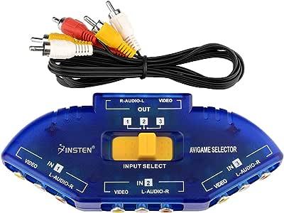 Insten AV Audio Video RCA 3 Way Switch Splitter Plus Cable