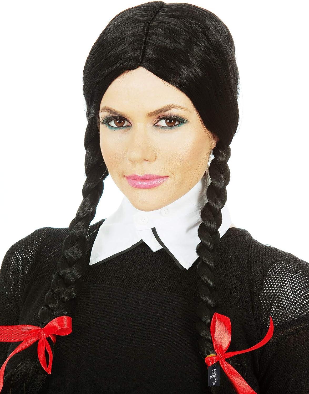 Astounding Amazon Com Black Pigtail Wig Braids Ribbons Wig Cap Womens Schematic Wiring Diagrams Phreekkolirunnerswayorg