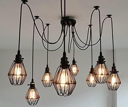 SUSUO Lighting Multiple Wire Cage Pendant Lighting Chandelier Spider ...