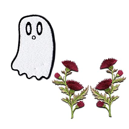 Amazon.com  Ghost Patches For Jackets Flower Patches Iron On Funny ... 4ccd77b698e