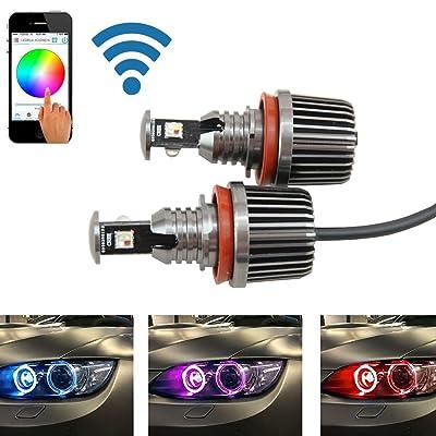 RGB H8 Led Marker Angel Eyes - Nslumo 1sets 36W canbus wifi control RGB H8 LED Angel Eyes LED marker bulb halo ring for BMW E82 E90 E92 E93 E70 E71 E60 E61 E63 E64: Automotive