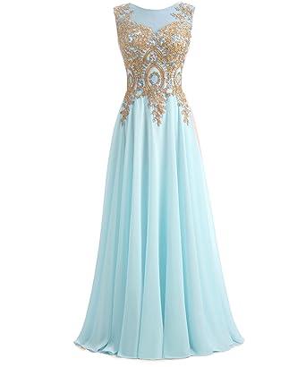 f8cd91e6293 Kivary Gold Lace A Line Long Chiffon Women Formal Corset Prom Evening Dresses  Aqua US 2