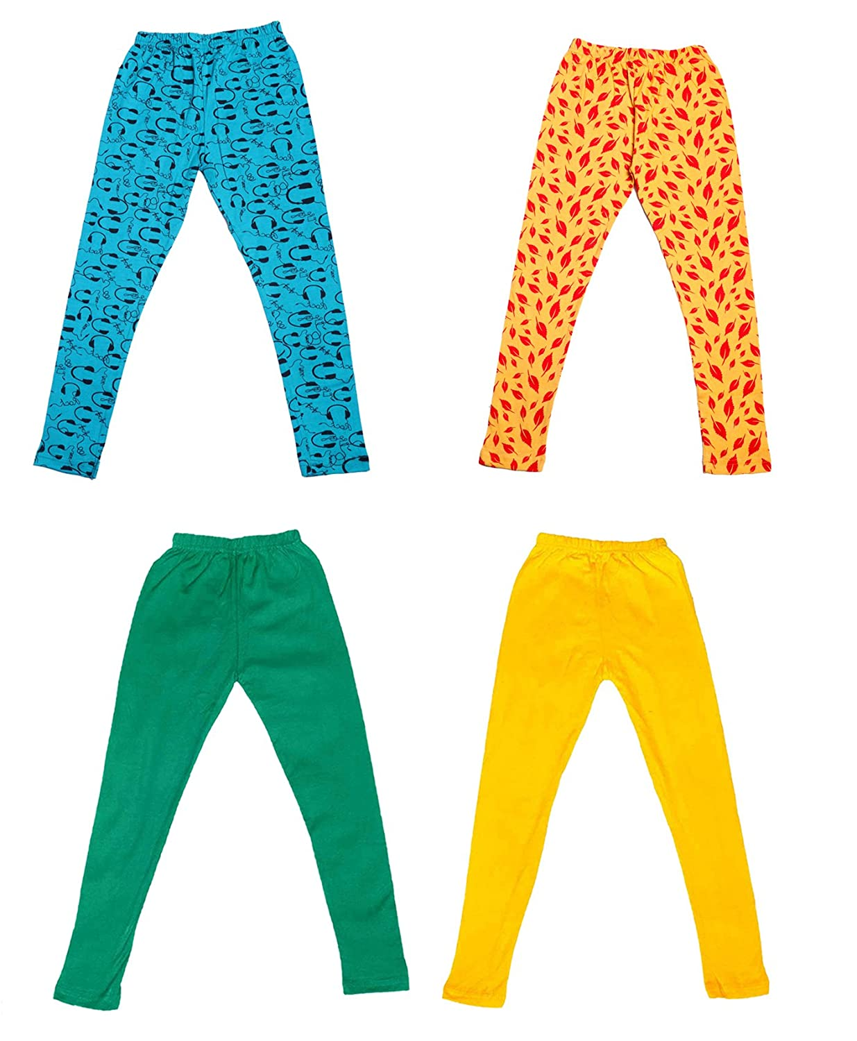 and 2 Cotton Printed Legging Pants Pack Of 4 /_Multicolor/_Size-7-8 Years/_71406071718-IW-P4-30 Indistar Girls 2 Cotton Solid Legging Pants