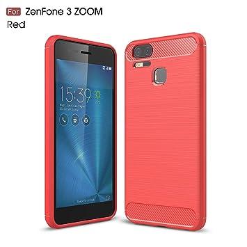 Ycloud Resilient TPU Funda para ASUS ZenFone 3 Zoom ZE553KL Delgado Silicona Case Shock-Absorción Fibra de Carbon Back Cover Rojo Carcasa para ASUS ...