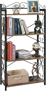 X-cosrack 4 Tier Bookcase Book Shelf wtih 2 Middle Adjustable Shelves, Rustic Industrial Standing Vertiacl Book Rack Holder Stand Storage Organizer Shelf for Livingroom Bedroom Study Office Kitchen