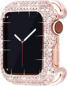 Surace 40mm Bling Case Compatible with Apple Watch Case, Bronze Metal Jewelry Protective Case Cover with Cubic Zirconia Crystals Replacement for Apple Watch Series 6 Series 5 Series 4 40mm, Rose Gold
