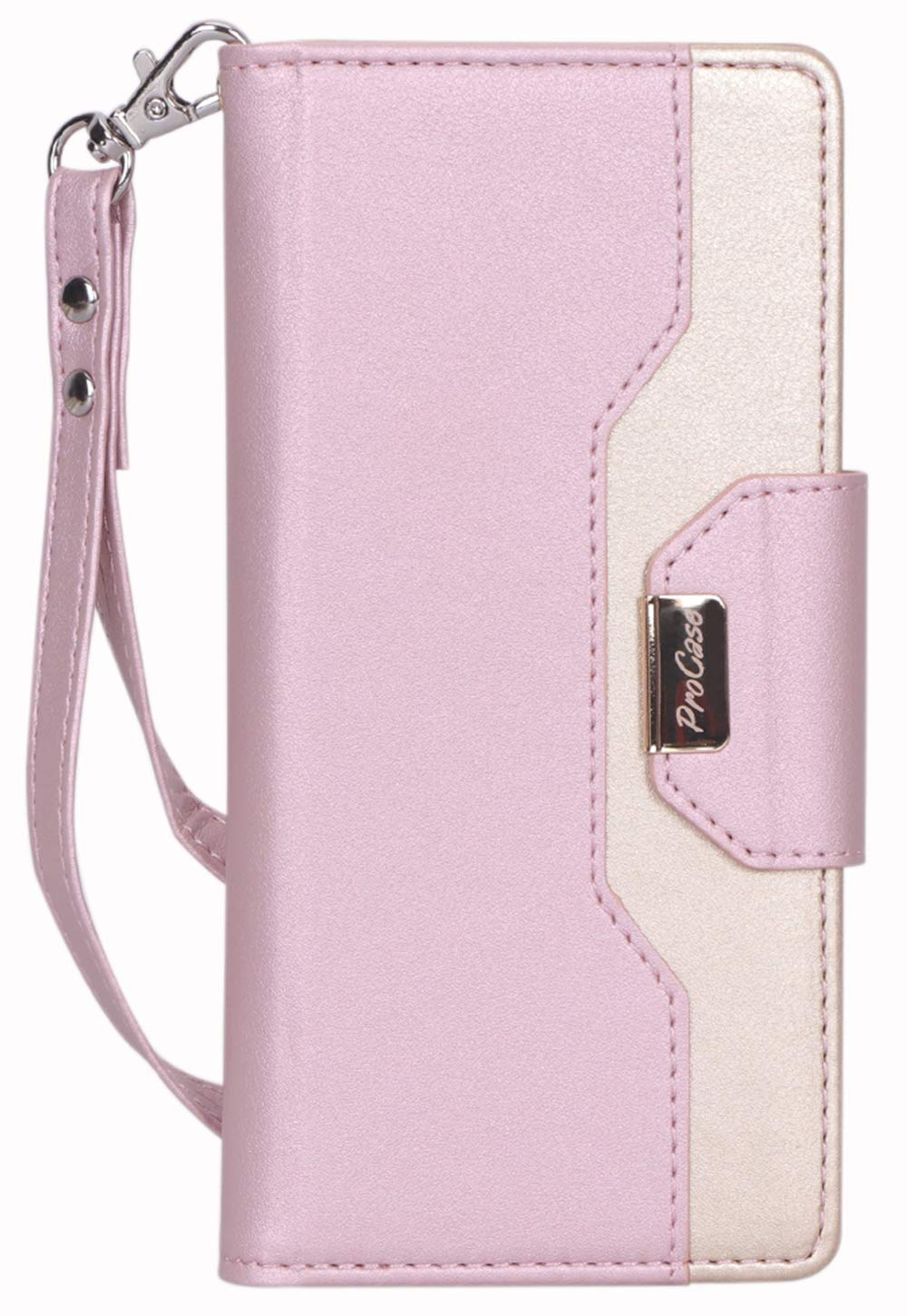 ProCase Galaxy Note 10+ Plus/5G Wallet Case, Flip Fold Kickstand Case with Card Holders Mirror, Folding Stand Protective Book Case Cover for Samsung Galaxy Note 10+ Plus/5G (2019 Release) -Pink by ProCase