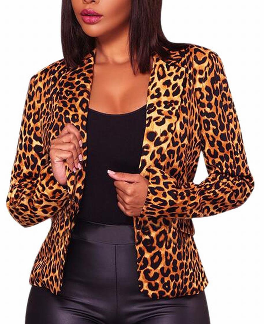 Fly Year-uk Womens Autumn Leopard Print One-Button Lapel Chic Blazer Jackets