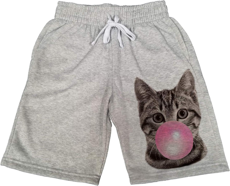 Mens Bubblegum Cat B1491 Gray Fleece Jogger Sweatpants Gym Shorts