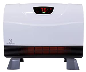 Heat Storm Phoenix Floor to Wall Infrared Space Heater with Attachable Feet, Remote Control, Energy Efficient-750-1500 Watts
