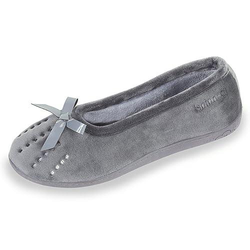 Zapatillas MUJER Bailarinas - terciopelo - suela ergonómica Isotoner 37: Amazon.es: Zapatos y complementos