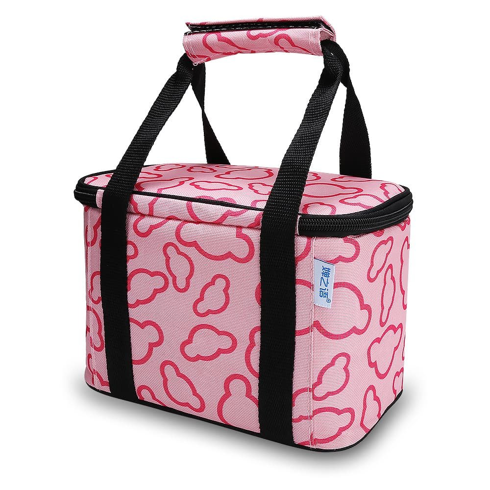 Portable Insulated Lunch Bag Reusable Picnic Cold Tote Box for Adults & Kids at Work or School. (pink)