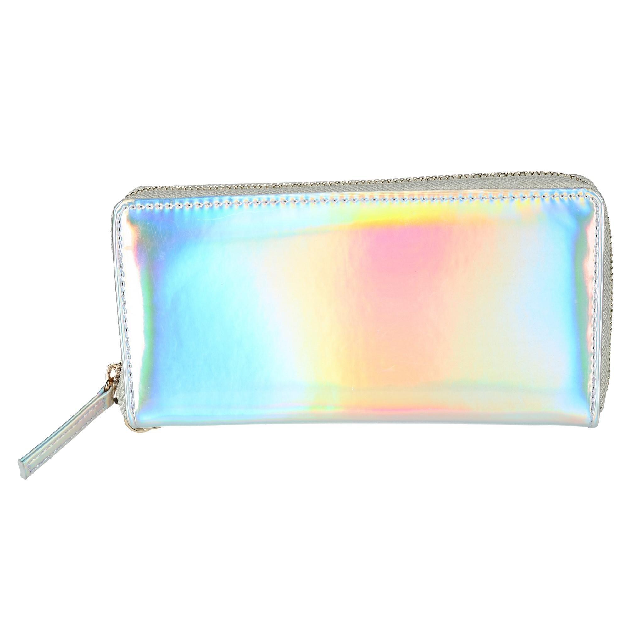 OMG Accessories Women's Iridescent Zip-Around Wallet, Multi-Color