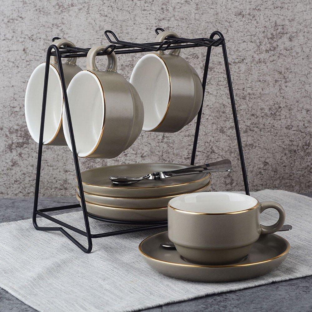 DHG European Coffee Cup Set Creative Coffee Cup Ceramic Coffee Cup Set British Coffee Cup,K,Cup 10.585.5CM