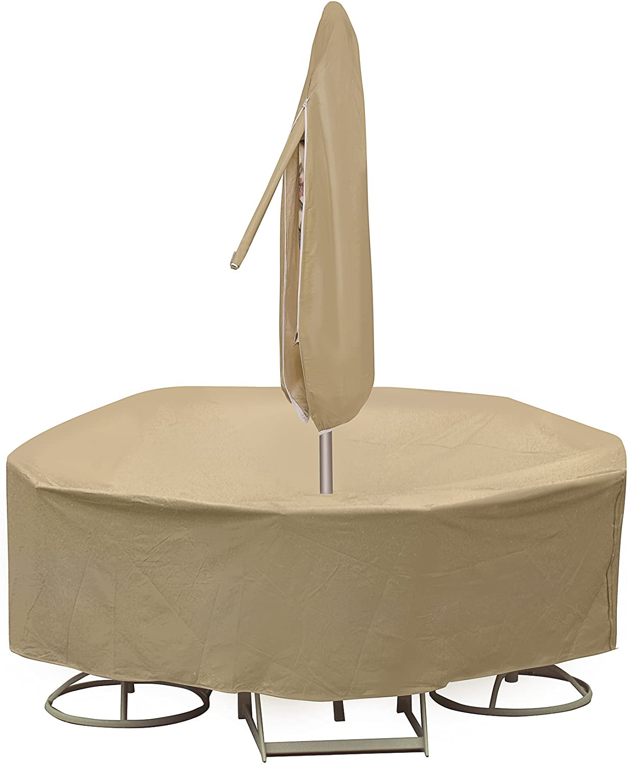 Protective Covers Weatherproof Patio Table and Chair Set Cover, 48 Inch x 54 Inch, Round Table, Tan - 1158-TN