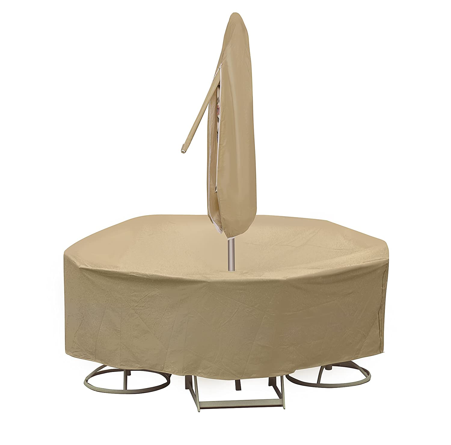 Protective Covers Weatherproof Patio Table and Highback Chair Set Cover, 48 Inch x 54 Inch Round Table, Tan - 1159-TN