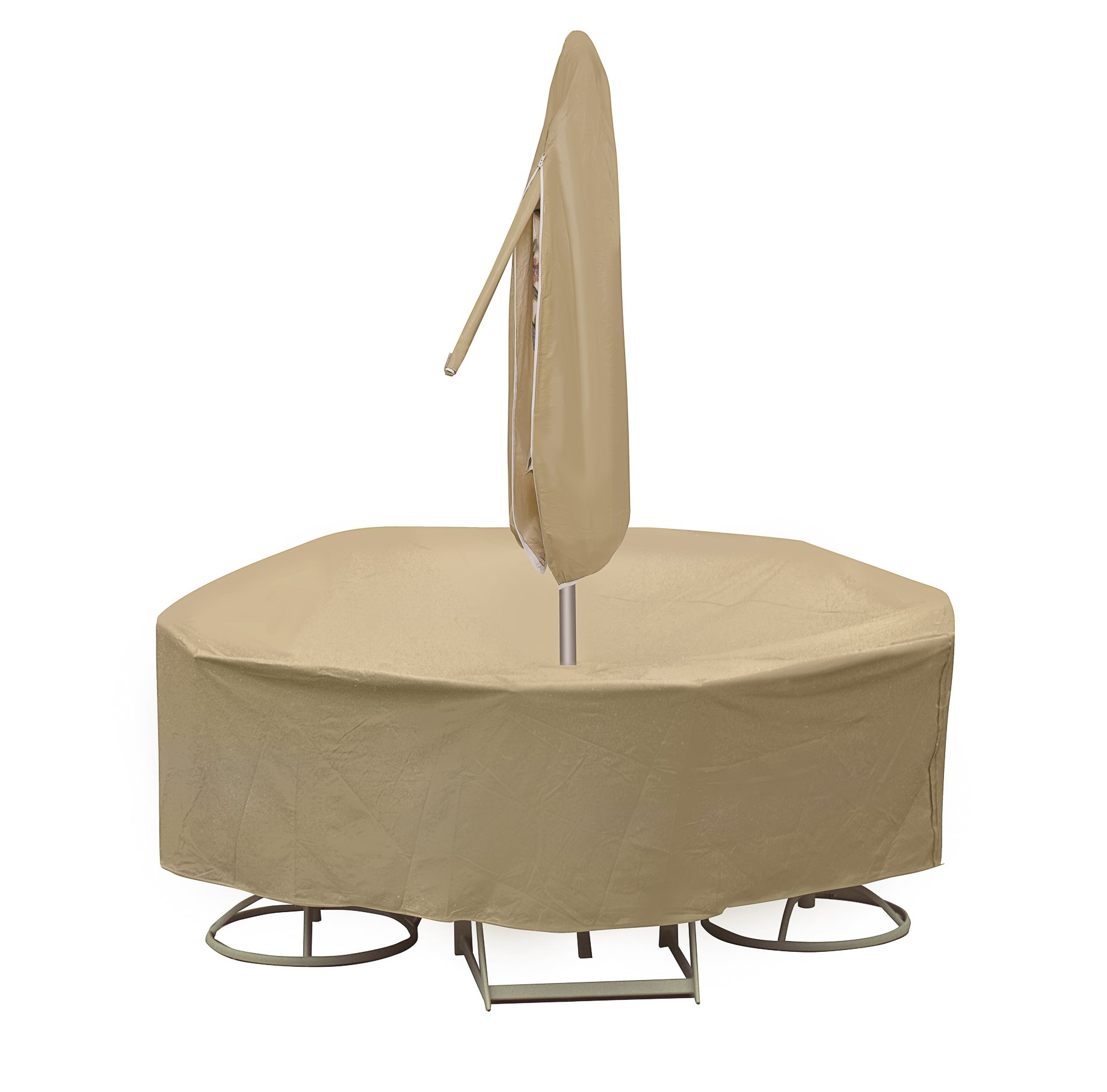 Protective Covers Weatherproof Patio Table and Highback Chair Set Cover, 60 Inch, Round Table, Tan