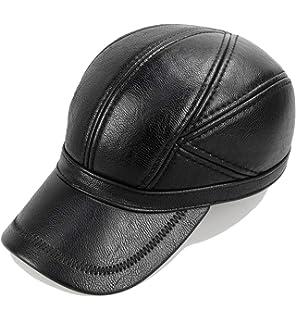 3e229b06b Molodo Men Winter Leather Fur Baseball Newsboy Cap Ear Flap Trapper ...