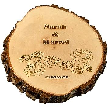 Geschenke 24 Baumscheibe Zur Hochzeit Mit Gravierten Rosen Klein