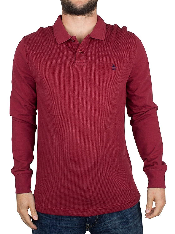 Original Penguin Herren Longsleeved Winston Logo-Polo-Hemd, Rot