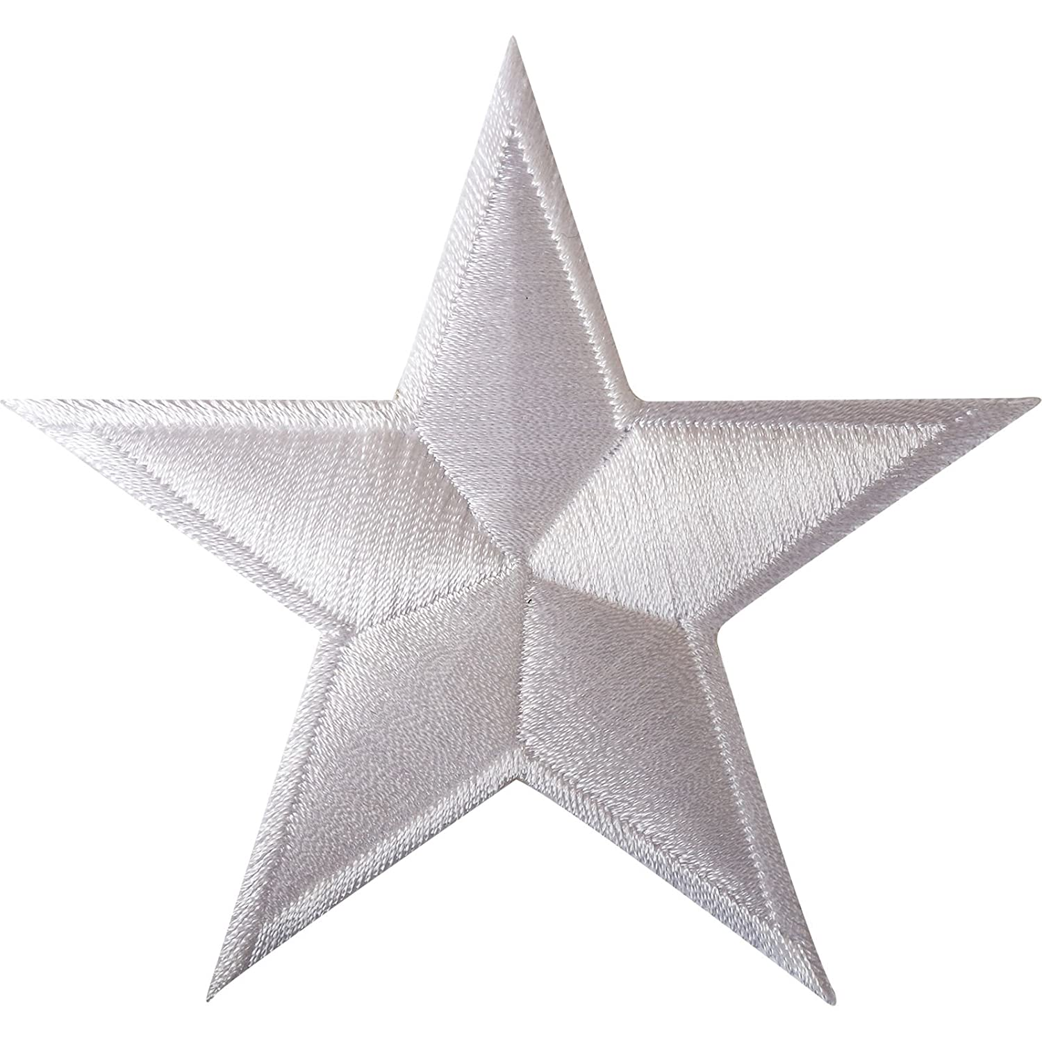 White Star Iron On Patch / Sew On Clothes Bag Embroidered Badge Biker Motorcycle ELLU