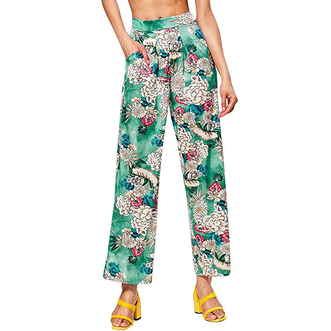 JOFOW Womens Wide Leg Pants Boho Flowers Floral Print High ...