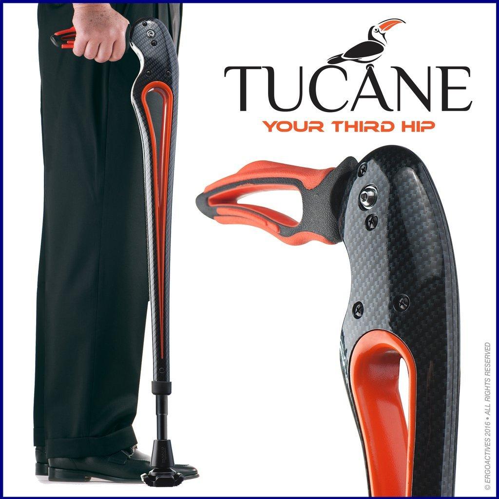 Tucane Lite 8X- Self-Propelled Advanced Walking Stick (8x lighter than old version) (Black/ Orange Tones)