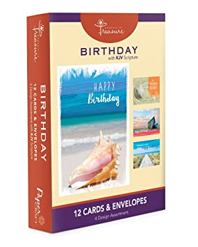 Assorted 12 Pack Religious Boxed Birthday Cards Bulk With KJV Scripture