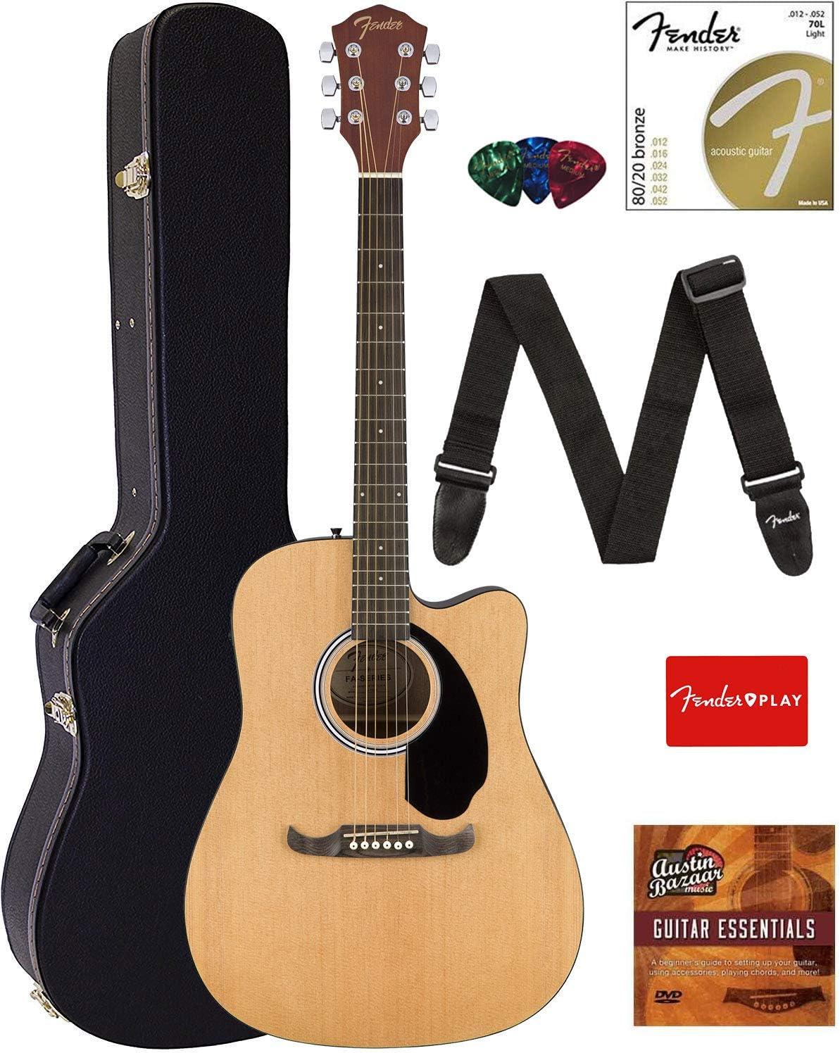 Fender FA-125CE Dreadnought Cutaway Guitarra acústica eléctrica con estuche duro, correa, cuerdas, púas, Fender Play Online Lessons, y Austin Bazaar DVD instructivo: Amazon.es: Instrumentos musicales