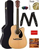 Fender FA-125CE Dreadnought Cutaway Acoustic-Electric Guitar - Natural Bundle with Hard Case, Strap, Strings, Picks…