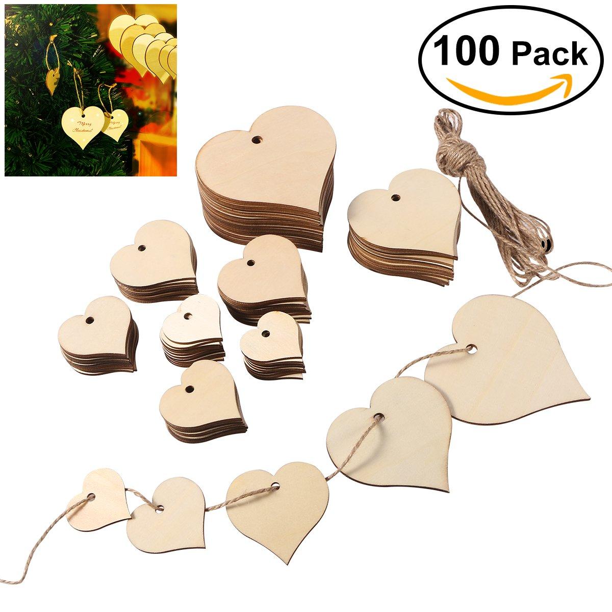ULTNICE Recortes de madera del corazón que cuelgan el ornamento con el tamaño 4CM los 5CM 6CM 8CM los 10CM, 100pcs de la guita de 10M