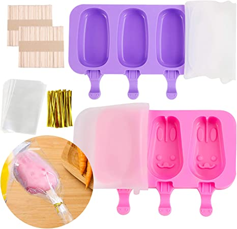 for DIY Ice Cream Silicone Ice Pop Molds 3 Cavities Homemade Ice Cream Mold with 100 Wooden Sticks 2 Pack Popsicle Molds with Lids Rabbit + Snowman