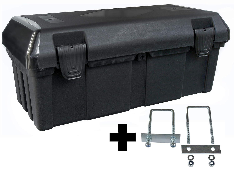 Deichselbox mit 2 Verschlü ssen inkl. Halter, Werkzeugkasten fü r Anhä nger Staukiste 30 ltr Anhä ngerbox, Daken B23-0+MON4002 Edelstahlhaus GmbH