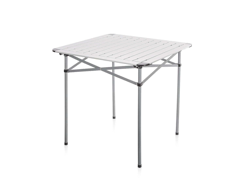 Campart Campingtisch/Reisetisch - 70 x 70 cm wetterBesteändige Aluminium Rolltischfläche/mit Transporttasche/einfach auf- und Zusammenklappbar, TA-0796