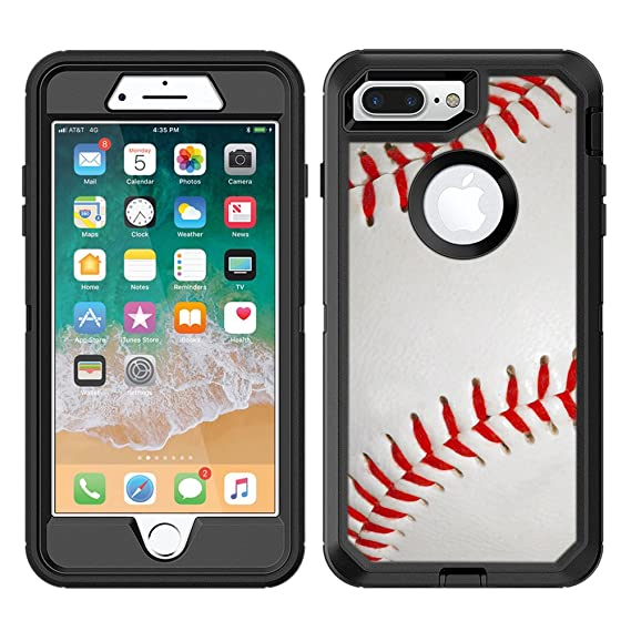 best service a56ba fca12 Protective Designer Vinyl Skin Decals/Stickers for OtterBox Defender iPhone  8 Plus/iPhone 7 Plus Case - Baseball Design Patterns - Only Skins and NOT  ...