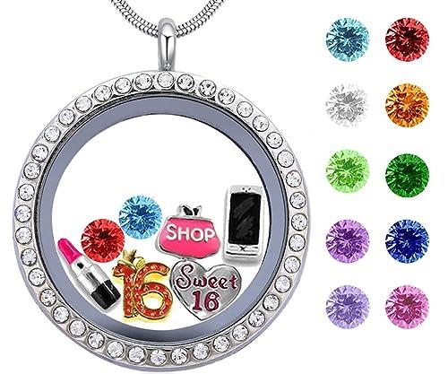 Best Girls Birthday Gift Sweet Sixteen Floating Living Memory Locket Charm Birthstone Necklace