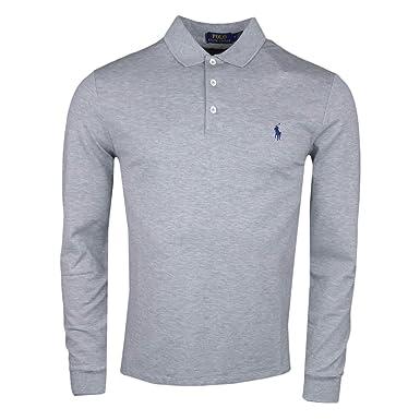 18a602ff1c7 Ralph Lauren Polo Manches Longues Gris en Coton piqué Slim fit pour Homme   Amazon.fr  Vêtements et accessoires