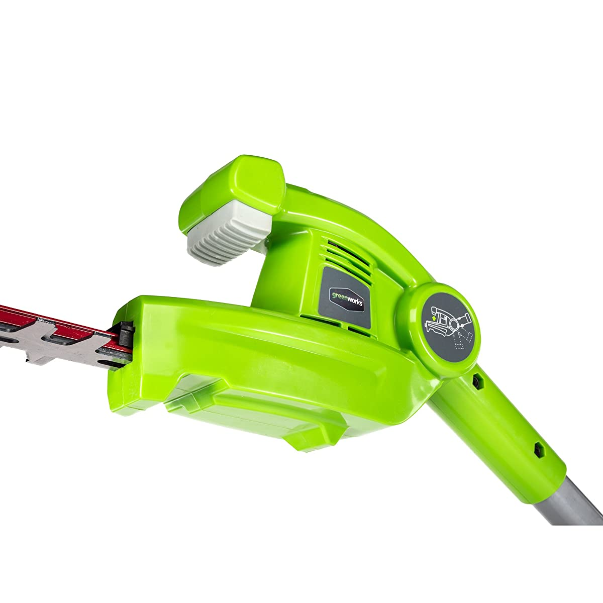 Greenworks 7.25 40V Cordless, 2.0 AH Battery Included PH40B210 Pole Hedge Trimmer, Electric Lime