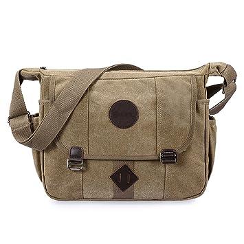 70d58e78524f1 GSTEK Messenger Tasche Kuriertasche Umhängetasche Retro Stoff Leinen Lässige  Umhängetasche Schultertasche Messenger Bag für Sport