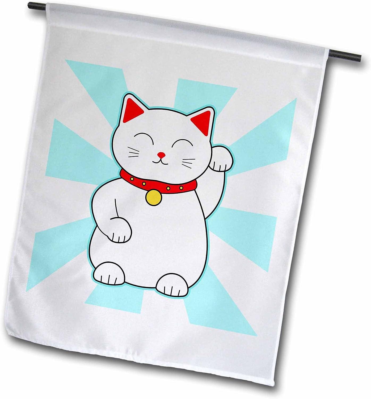 3dRose Janna Salak Designs Lucky Cats - White Lucky Cat - 18 x 27 inch Garden Flag (fl_201750_2)